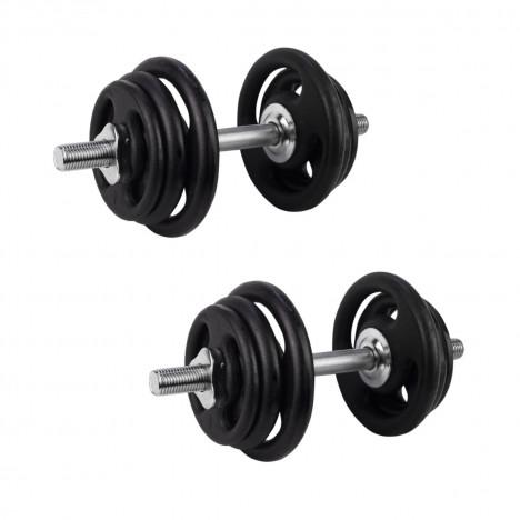 Kit Par Halteres Rosqueáveis 40cm + 32kg Anilhas Pintadas: 4x4kg 4x3kg 4x1kg
