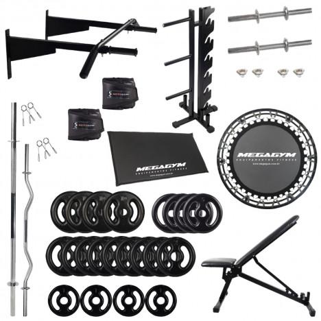 Kit Home Pro - Barras + Halteres + Banco + Mini Jump + Suporte + Caneleiras + Barra Fixa + 80kg Anilhas Emborrachadas