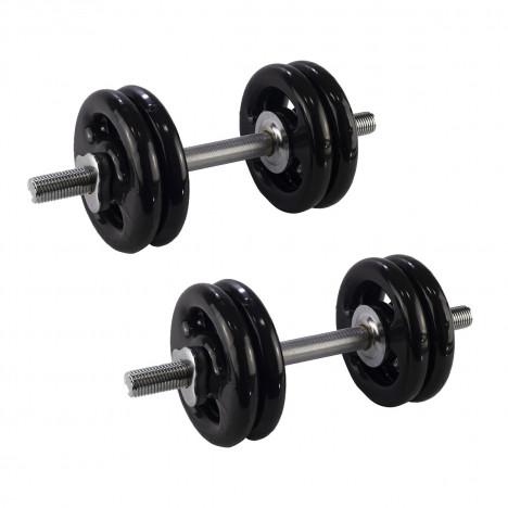 Kit Halteres Rosqueáveis + 32kg Anilhas Emborrachadas: 4x4kg 4x3kg 4x1kg