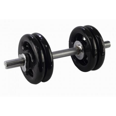 Kit Halter Rosqueável 40cm + 16kg Anilhas Emborrachadas: 2x4kg 2x3kg 2x1kg