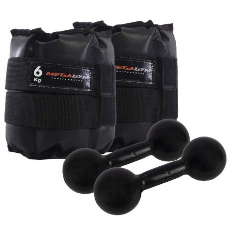 Kit Treine em Casa - Par Halteres Emb 3kg + Par de Caneleiras 6kg
